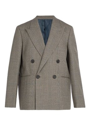 Wooyoungmi - Prince Of Wales Checked Wool Blazer - Mens - Grey
