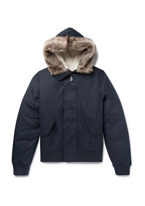 Shearling-trimmed Cotton-blend Shell Hooded Jacket