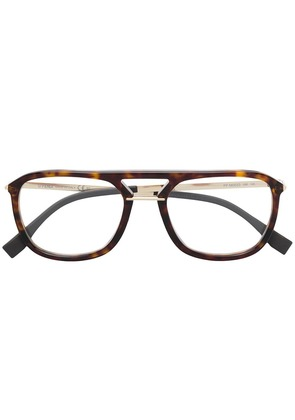 Fendi Eyewear oversized aviator glasses - Brown