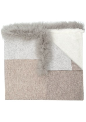 Max & Moi mink and fox fur trim scarf - Neutrals