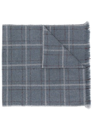 Loro Piana fringed checked scarf - Grey