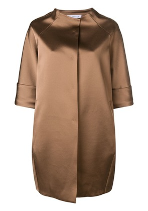 Gianluca Capannolo oversized cropped sleeve coat - Neutrals