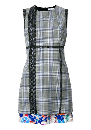 MSGM lace trim check fitted dress - Blue