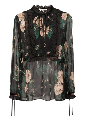 Coach floral embroidered blouse - Black
