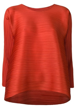 Pleats Please By Issey Miyake flared pleated blouse - Orange