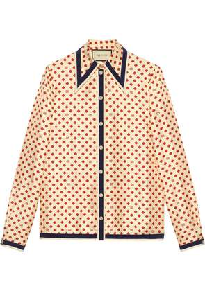 Gucci Shirt with GG, hearts and clovers - Neutrals