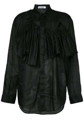 Jil Sander asymmetric ruffled shirt - Black