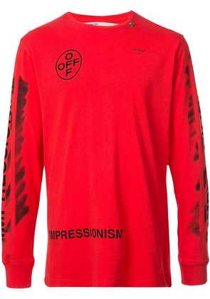 Off-White long-sleeve logo print T-shirt - Red