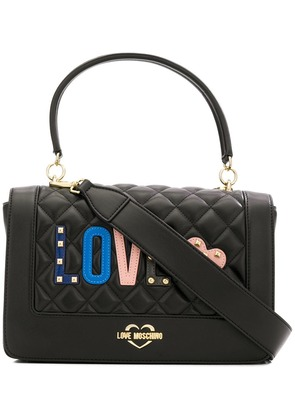 Love Moschino Love quilted appliqué top handle bag - Black