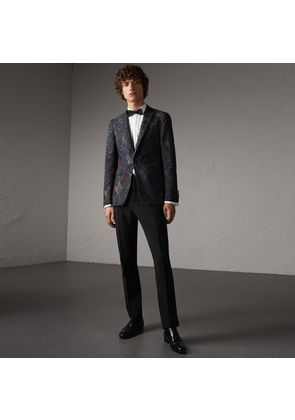 Burberry Slim Fit Wool Mohair Evening Trousers, Black