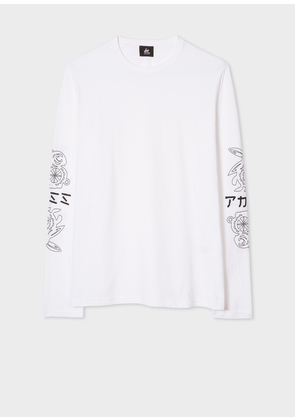 Men's White Long-Sleeve Red Ear T-Shirt With 'Mirrored Rabbit Logo' Print