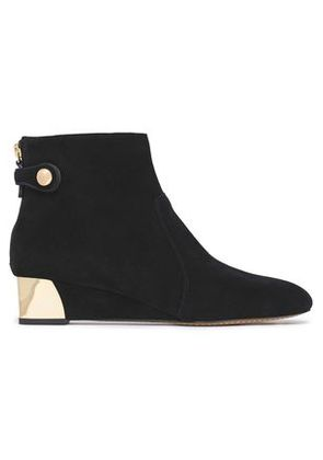 Tory Burch Woman Embellished Suede Ankle Boots Black Size 11
