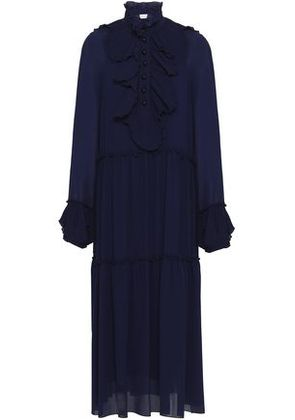 See By Chloé Woman Ruffle-trimmed Crepe De Chine Midi Dress Navy Size 36