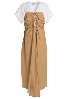 3.1 Phillip Lim Woman Tie-front Ruched Cotton-poplin And Jersey Midi Dress Sand Size 8