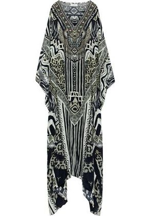 Camilla Woman Salvador Summer Embellished Printed Silk Kaftan Black Size ONESIZE