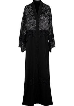Dolce & Gabbana Woman Lace-paneled Printed Satin And Silk-blend Kimono Black Size 46