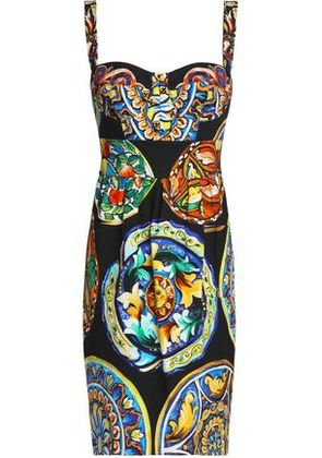 Dolce & Gabbana Woman Shirred Printed Cotton-blend Dress Multicolor Size 42