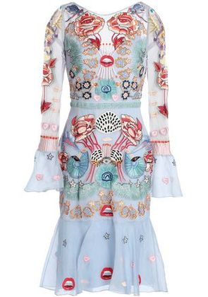 Temperley London Woman Porcelain Embroidered Tulle Dress Sky Blue Size 10