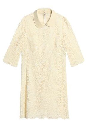 Dolce & Gabbana Woman Patent Leather-trimmed Corded Lace Mini Dress Ivory Size 36