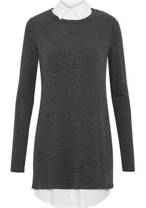Bailey 44 Woman Layered Knitted Mini Dress Anthracite Size XS