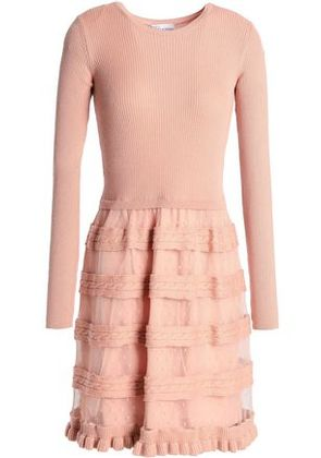 Redvalentino Woman Ribbed And Cable-knit Wool And Point D'esprit Mini Dress Blush Size XS