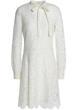 Valentino Woman Pussy-bow Cotton-blend Corded Lace Mini Dress Ivory Size 40