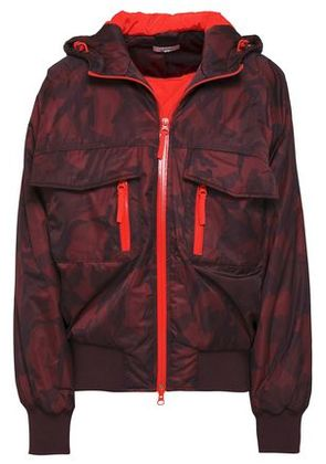 Ganni Woman Printed Sell Hooded Jacket Burgundy Size 38