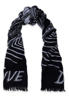 Mcq Alexander Mcqueen Woman Fringe-trimmed Wool-blend Jacquard Scarf Gray Size -
