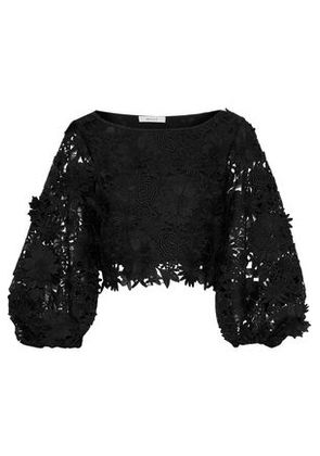 Milly Woman Camilla Cropped Floral-appliquéd Guipure Lace Top Black Size 6