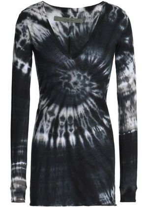 Enza Costa Woman Tie-dyed Pima Cotton-jersey Top Black Size S