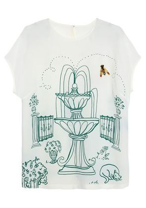 Dolce & Gabbana Woman Embellished Printed Silk Crepe De Chine Top White Size 40