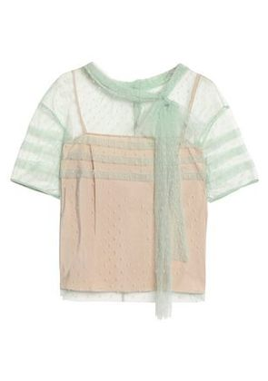 Redvalentino Woman Pussy-bow Pleated Point D'esprit Blouse Mint Size 40