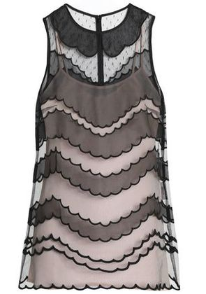 Redvalentino Woman Paneled Organza And Tulle Top Black Size 40
