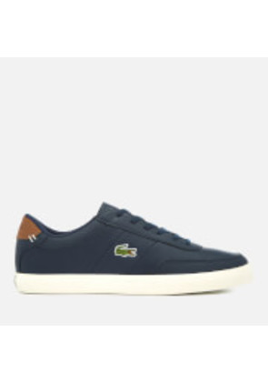 Lacoste Men's Court-Master 318 2 Leather Vulcanised Trainers - Navy/Brown - UK 7 - Blue