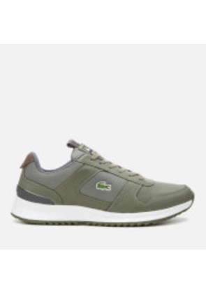 Lacoste Men's Joggeur 2.0 318 1 Textile/Leather Runner Style Trainers - Khaki/Dark Grey - UK 7 - Green