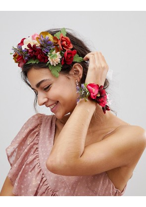 ASOS Bridesmaid Floral Garland Headband and Corsage Bracelet - Multi