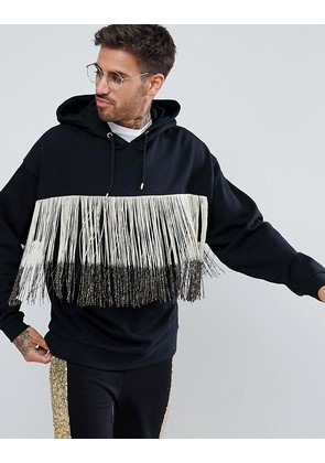 ASOS Oversized Hoodie With Gold Fringing - Black