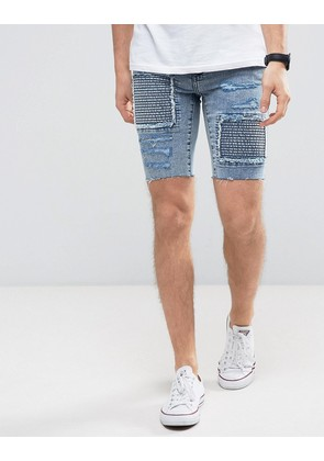 New Look Skinny Denim Shorts With Rips In Acid Wash - Light blue