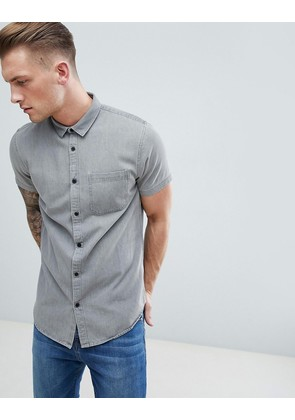 New Look Denim Shirt In Grey - Mid grey