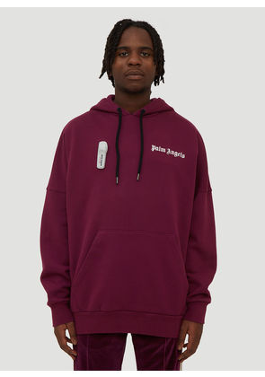 Palm Angels Basic Hooded Logo Sweatshirt in Purple size L