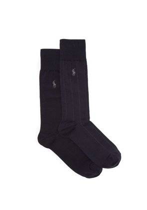Polo Ralph Lauren - Set Of Two Pairs Logo Embroidered Socks - Mens - Navy