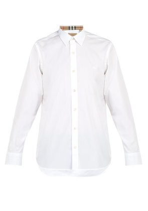 Burberry - William Logo Embroidered Cotton Blend Shirt - Mens - White
