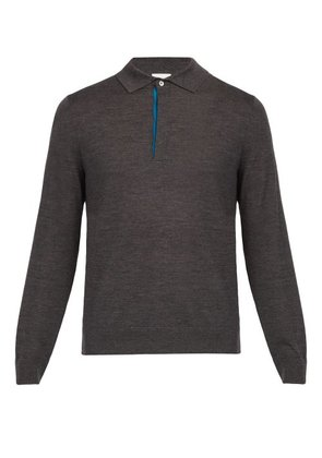 Paul Smith - Long Sleeved Fine Knit Wool Polo Shirt - Mens - Dark Grey