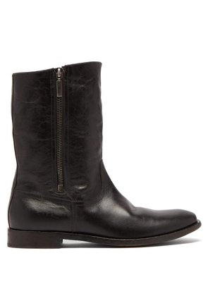 Saint Laurent - Shearling Lined Leather Boots - Mens - Black