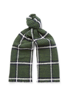 Checked Double-faced Wool-blend Scarf