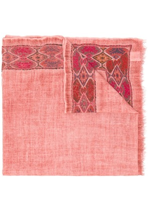 Faliero Sarti embroidered edge scarf - Pink