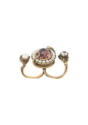 Alexander McQueen snake crystal double ring - Metallic