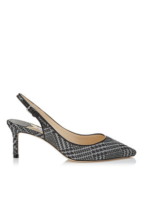 ERIN 60 Stone and Black Prince of Stars Flannel Slingback Pumps