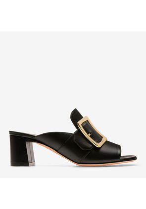 Bally Janaya Black, Women's plain calf leather mule sandal with 55mm heel in black