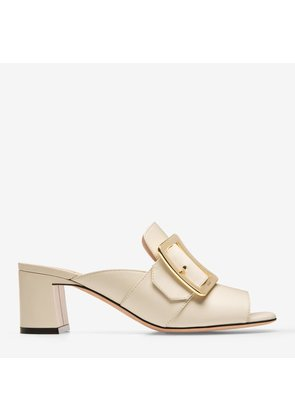 Bally Janaya White, Women's plain calf leather mule sandal with 55mm heel in bone